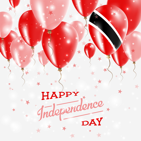Trinidad and Tobago Vector Patriotic Poster. Independence Day Placard with Bright Colorful Balloons of Country National Colors. Trinidad and Tobago Independence Day Celebration.
