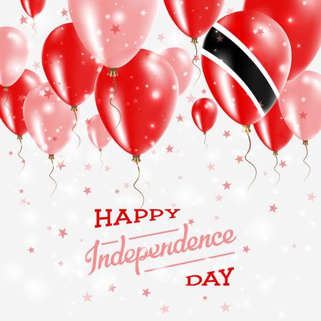Trinidad en Tobago Vector patriottische poster. Onafhankelijkheidsdag plakkaat met heldere kleurrijke ballonnen van land nationale kleuren. Viering van de onafhankelijkheidsdag van Trinidad en Tobago.