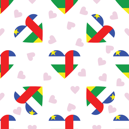Central African Republic independence day seamless pattern. Patriotic background with country national flag in the shape of heart. Vector illustration.