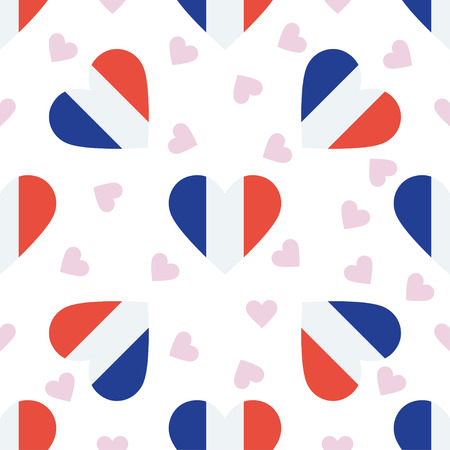 Martinique independence day seamless pattern. Patriotic background with country national flag in the shape of heart. Vector illustration.