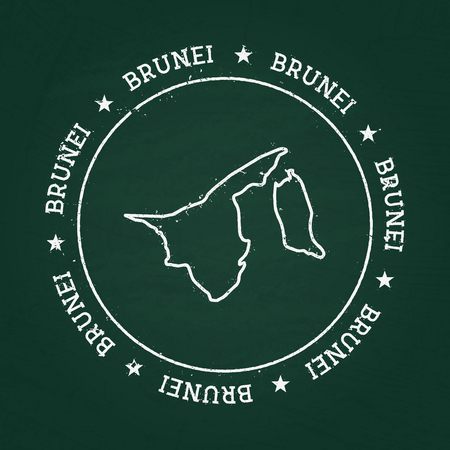 White chalk texture rubber seal with Nation of Brunei map on a green blackboard. Grunge rubber seal with country outlines, vector illustration. Vettoriali