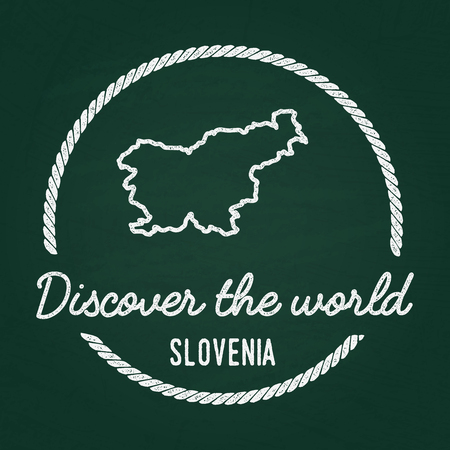 White chalk texture hipster insignia with Republic of Slovenia map on a green blackboard. Grunge rubber seal with country outlines, vector illustration. Illustration