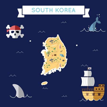 Flat treasure map of Korea, Republic of. Colorful cartoon with icons of ship, jolly roger, treasure chest and banner ribbon. Flat design vector illustration.