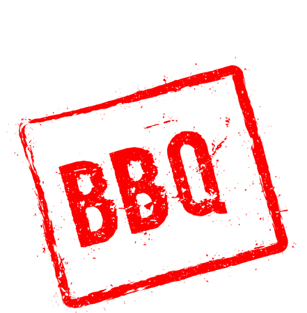 Bbq red rubber stamp isolated on white background. Grunge rectangular seal with text, ink texture and splatter and blots, vector illustration. Ilustrace