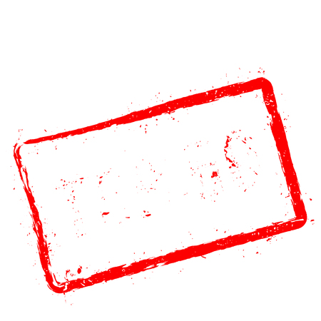 Top 50 red rubber stamp isolated on white background. Grunge rectangular seal with text, ink texture and splatter and blots, vector illustration.