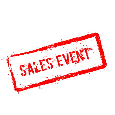 Sales event red rubber stamp isolated on white background. Grunge rectangular seal with text, ink texture and splatter and blots, vector illustration.