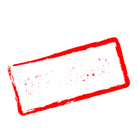 Offender red rubber stamp isolated on white background. Grunge rectangular seal with text, ink texture and splatter and blots, vector illustration.