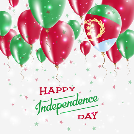 Eritrea vector patriotic poster. Independence Day placard with bright colorful balloons of country national colors. Eritrea Independence Day celebration.