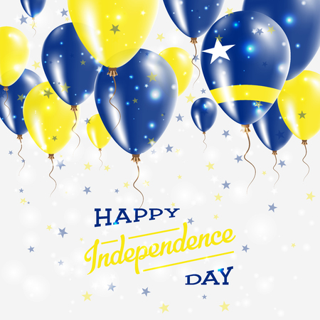 Curacao vector patriotic poster. Independence Day placard with bright colorful balloons of country national colors. Curacao Independence Day celebration.