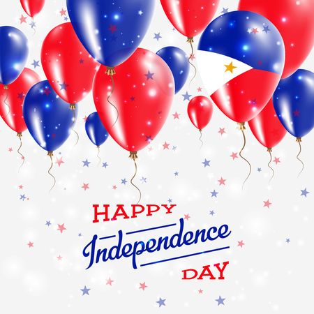 Philippines vector patriotic poster. Independence day placard with bright colorful balloons of country national colors. Philippines independence day celebration.