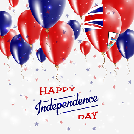 Bermuda vector patriotic poster. Independence day placard with bright colorful balloons of country national colors. Bermuda independence day celebration.