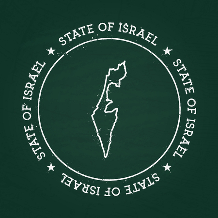 White chalk texture rubber seal with State of Israel map on a green blackboard. Grunge rubber seal with country outlines, vector illustration.