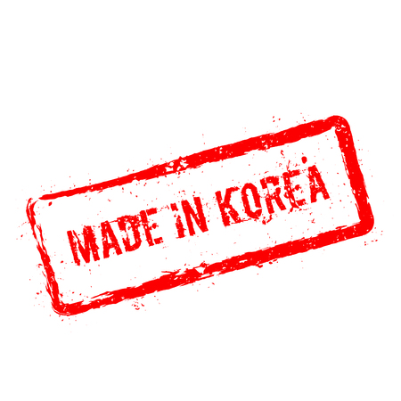 Made in Korea red rubber stamp isolated on white background. Grunge rectangular seal with text, ink texture and splatter and blots, vector illustration.