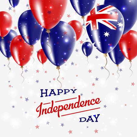 Australia Vector Patriotic Poster. Independence Day Placard with Bright Colorful Balloons of Country National Colors. Australia Independence Day Celebration.