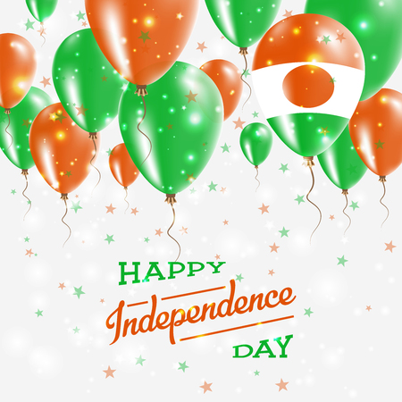 Niger Vector Patriotic Poster. Independence Day Placard with Bright Colorful Balloons of Country National Colors. Niger Independence Day Celebration.