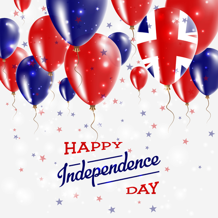 United Kingdom Vector Patriotic Poster. Independence Day Placard with Bright Colorful Balloons of Country National Colors. United Kingdom Independence Day Celebration.