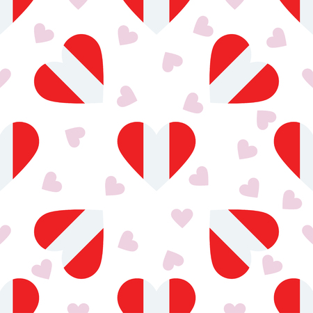 Peru independence day seamless pattern. Patriotic background with country national flag in the shape of heart. Vector illustration.