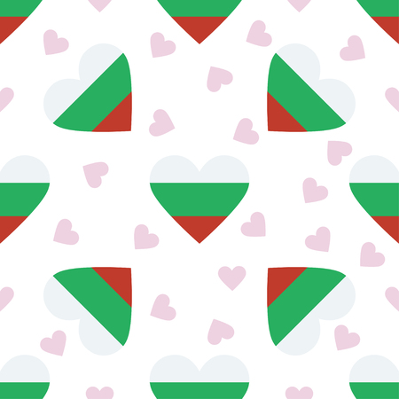 Bulgaria independence day seamless pattern. Patriotic background with country national flag in the shape of heart. Vector illustration.