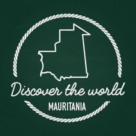 White chalk texture hipster insignia with Islamic Republic of Mauritania map on a green blackboard. Grunge rubber seal with country outlines, vector illustration.