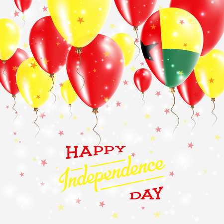 Guinea-Bissau Vector Patriotic Poster. Independence Day Placard with Bright Colorful Balloons of Country National Colors. Guinea-Bissau Independence Day Celebration. Illustration