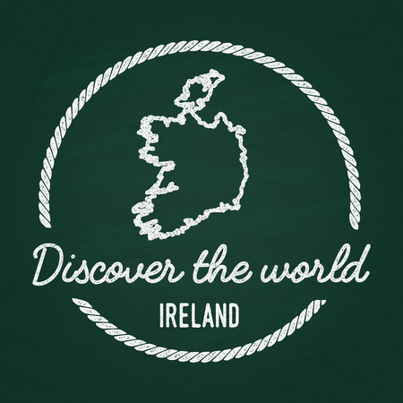 White chalk texture hipster insignia with Ireland map on a green blackboard. Grunge rubber seal with country outlines, vector illustration.