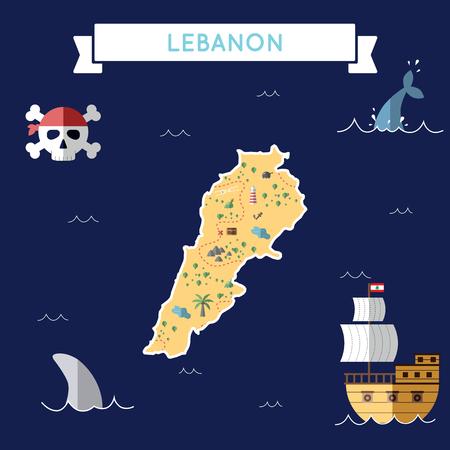 Mapa plano del tesoro del Líbano. Dibujos animados coloridos con iconos de la nave, jolly roger, cofre del tesoro y cinta de banner Ilustración de vector de diseño plano