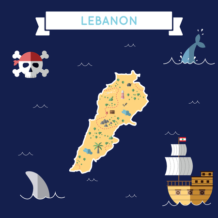 Flat treasure map of Lebanon. Colorful cartoon with icons of ship, jolly roger, treasure chest and banner ribbon. Flat design vector illustration.