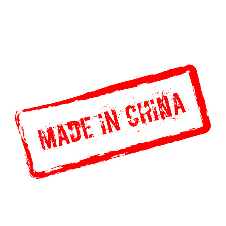 Made in China red rubber stamp isolated on white background. Grunge rectangular seal with text, ink texture and splatter and blots, vector illustration. Illustration