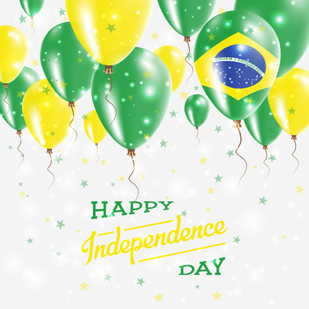 Brazil vector patriotic poster. Independence day placard with bright colorful balloons of country national colors. Brazil independence day celebration.