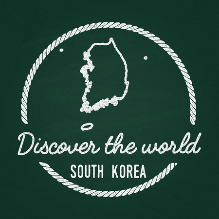 White chalk texture hipster insignia with Republic of Korea map on a green blackboard. Grunge rubber seal with country outlines, vector illustration.