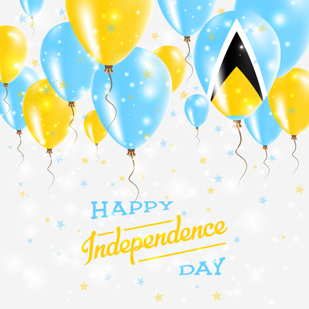 Saint Lucia Vector Patriotic Poster. Independence Day Placard with Bright Colorful Balloons of Country National Colors. Saint Lucia Independence Day Celebration. Illustration