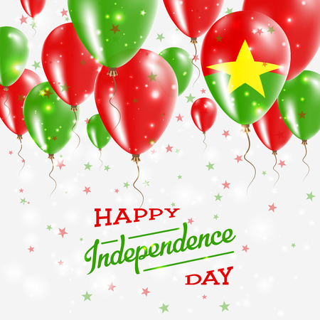 Burkina Faso Vector Patriotic Poster. Independence Day Placard with Bright Colorful Balloons of Country National Colors. Burkina Faso Independence Day Celebration.