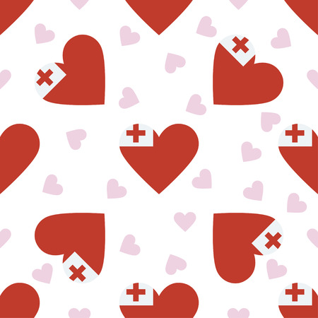 Tonga independence day seamless pattern. Patriotic background with country national flag in the shape of heart. Vector illustration.