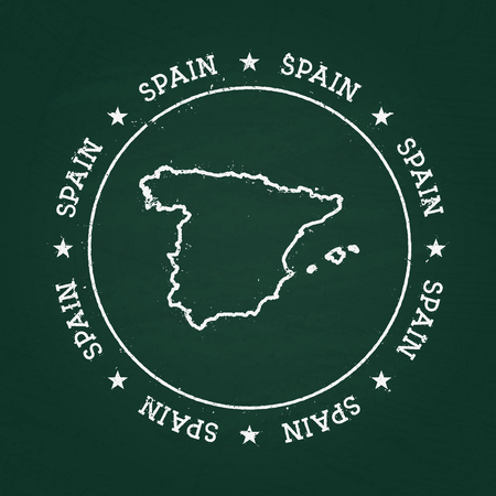 White chalk texture rubber seal with Kingdom of Spain map on a green blackboard. Grunge rubber seal with country outlines, vector illustration. Vettoriali