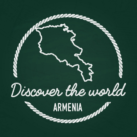 White chalk texture hipster insignia with Republic of Armenia map on a green blackboard. Grunge rubber seal with country outlines, vector illustration.