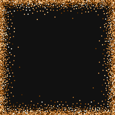 Red round gold glitter. Chaotic frame with red round gold glitter on black background. Fascinating Vector illustration.