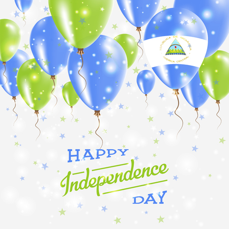 Nicaragua Vector Patriotic Poster. Independence Day Placard with Bright Colorful Balloons of Country National Colors. Nicaragua Independence Day Celebration.