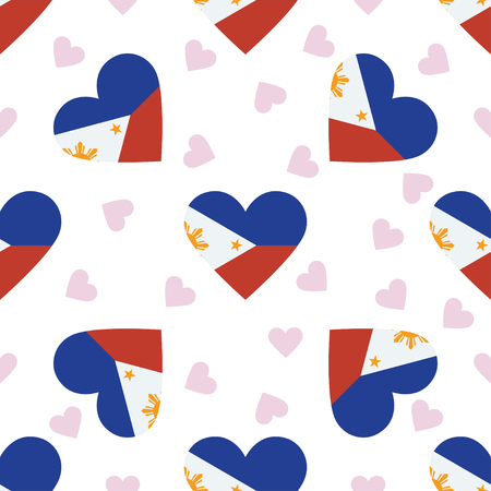Philippines independence day seamless pattern. Patriotic background with country national flag in the shape of heart. Vector illustration.