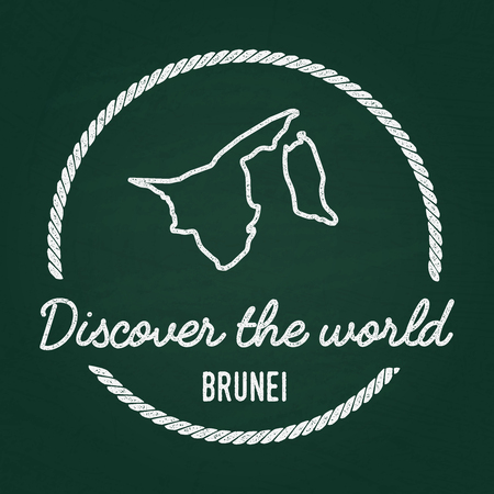White chalk texture hipster insignia with Nation of Brunei map on a green blackboard. Grunge rubber seal with country outlines, vector illustration. Illustration