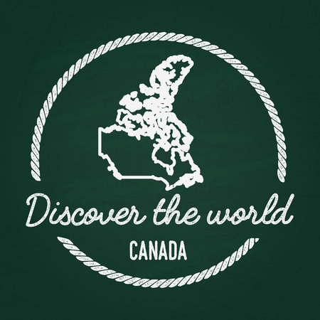 White chalk texture hipster insignia with Canada map on a green blackboard. Grunge rubber seal with country outlines, vector illustration.