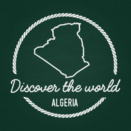 White chalk texture hipster insignia with People's Democratic Republic of Algeria map on a green blackboard. Grunge rubber seal with country outlines, vector illustration.