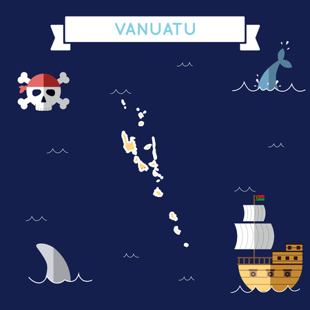 Flat treasure map of Vanuatu. Colorful cartoon with icons of ship, jolly roger, treasure chest and banner ribbon. Flat design vector illustration.