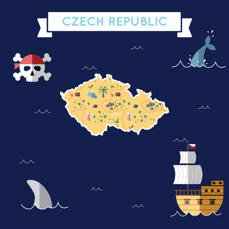 Flat treasure map of Czech Republic. Colorful cartoon with icons of ship, jolly roger, treasure chest and banner ribbon. Flat design vector illustration.