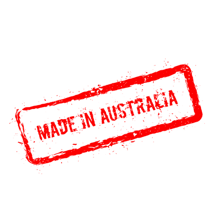 Made in Australia red rubber stamp isolated on white background. Grunge rectangular seal with text, ink texture and splatter and blots, vector illustration.