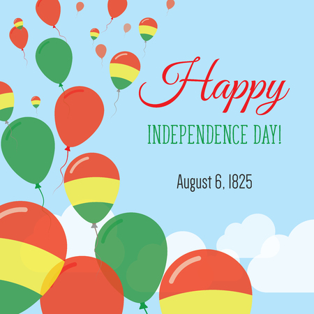 Independence Day Flat Greeting Card. Bolivia Independence Day. Bolivian Flag Balloons Patriotic Poster. Happy National Day Vector Illustration.