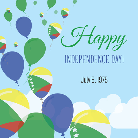 Independence Day Flat Greeting Card. Comoros Independence Day. Comoran Flag Balloons Patriotic Poster. Happy National Day Vector Illustration. Illustration