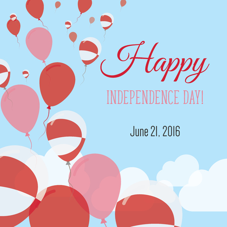 Independence Day Flat Greeting Card. Greenland Independence Day. Greenlandic Flag Balloons Patriotic Poster. Happy National Day Vector Illustration.