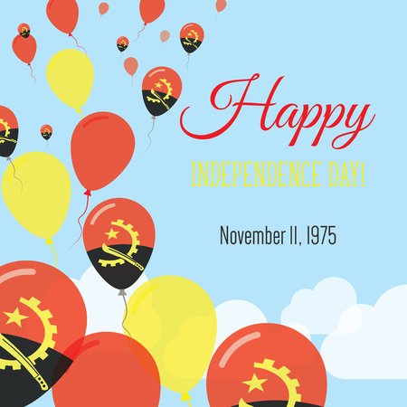 Independence Day Flat Greeting Card. Angola Independence Day. Angolan Flag Balloons Patriotic Poster. Happy National Day Vector Illustration.