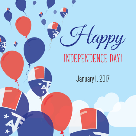 Independence Day Flat Greeting Card. French Southern Territories Independence Day. French Flag Balloons Patriotic Poster. Happy National Day Vector Illustration.
