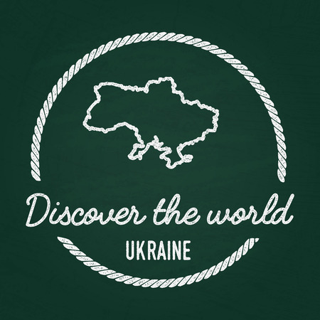 White chalk texture hipster insignia with Ukraine map on a green blackboard. Grunge rubber seal with country outlines, vector illustration.